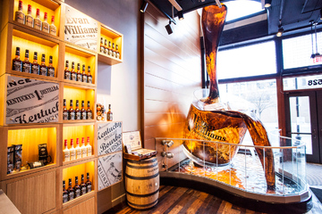 whiskey pouring window display