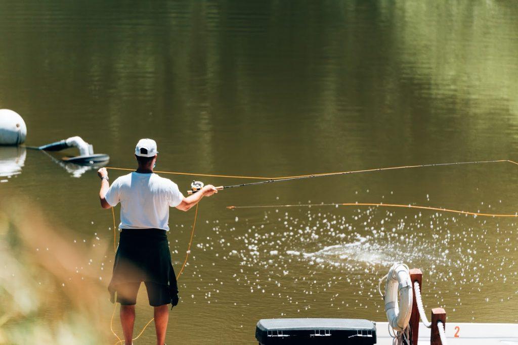 guy fishin in skypark rv resort